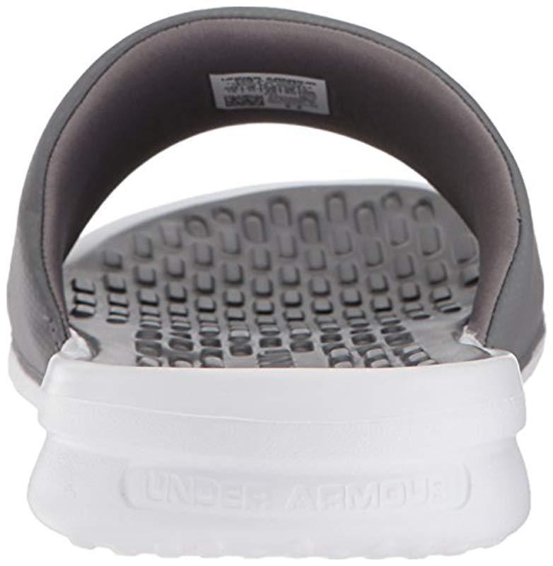 54048f15028 Under Armour - Gray Playmaker Fix Sl Slide Sandal for Men - Lyst. View  fullscreen