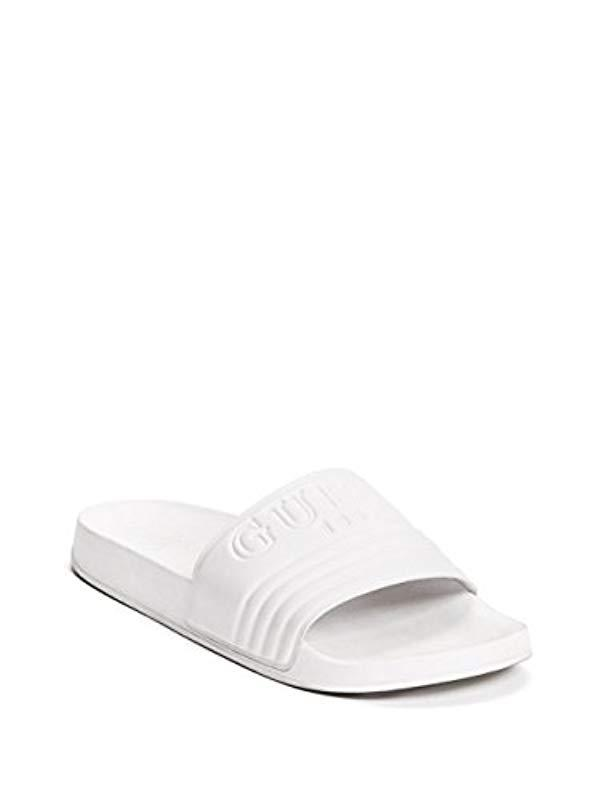 Guess G-susie Slide Sandal in White - Lyst