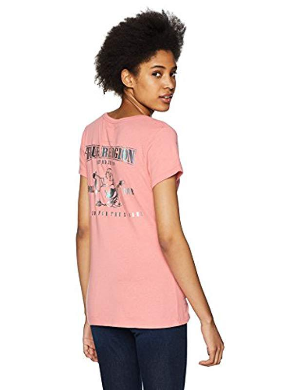 85609a5b Lyst - True Religion Double Puff Buddha Vneck Tee in Pink