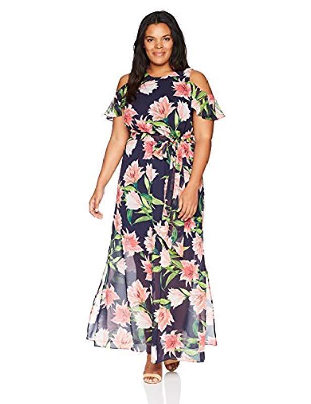 d4b18b027622 Lyst - Eliza J Plus Size Cold Shoulder Maxi Dress in Blue