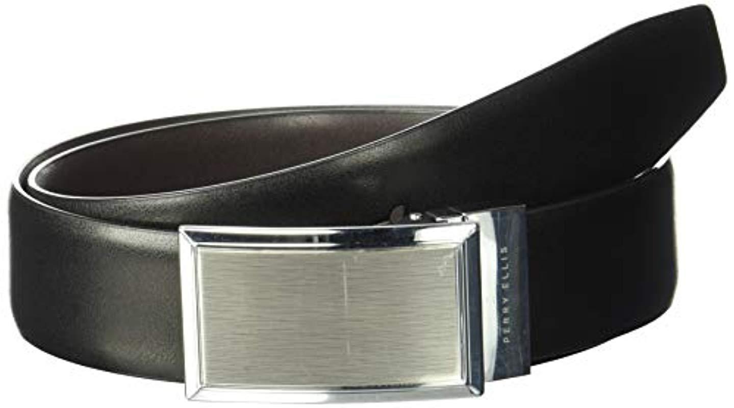 328aa872c750 Men's Black Portfolio Nickle Finish Plaque Reversible Belt
