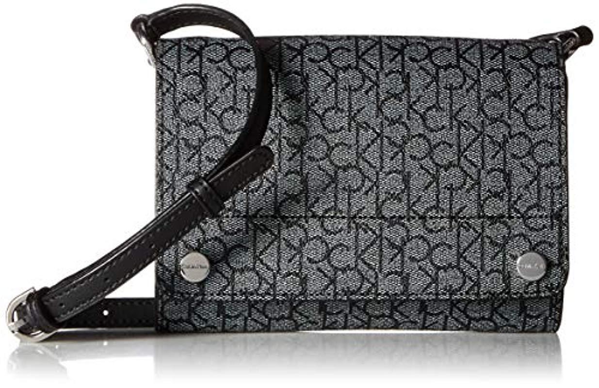 7dacb43b375d7f Calvin Klein Susan Monogram Flap Over Small Crossbody in Black - Lyst