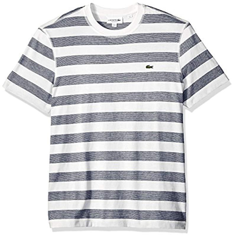 205430466400c Lyst - Lacoste Short Sleeve Mille-raye Striped Jersey Regular Fit T ...