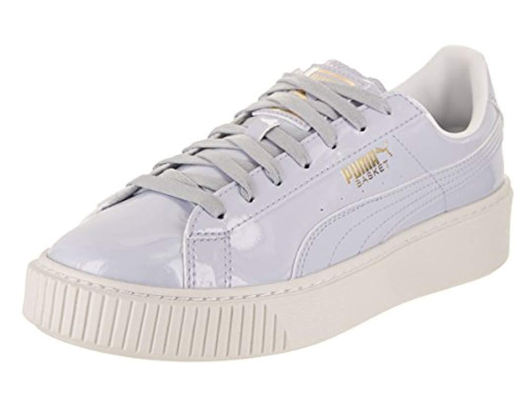 PUMA Blue Basket Platform Patent Wn's Field Hockey Shoe Lyst