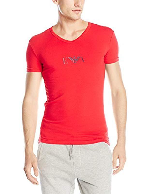 9696bbcd7487 Lyst - Emporio Armani Stretch Cotton Eagle Logo V-neck T-shirt in ...