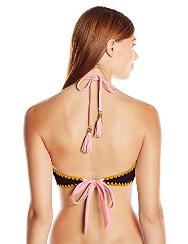 132af7c544cd0 Lyst - Jessica Simpson Woodstock Whipstitch Reversible High Neck Halter  Bikini Top - Save 26%