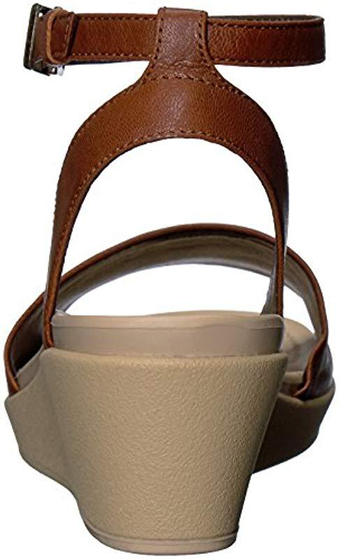 87f3198671fc Crocs™ - Brown Leigh-ann Ankle Strap Leather Wedge Sandal - Lyst. View  fullscreen