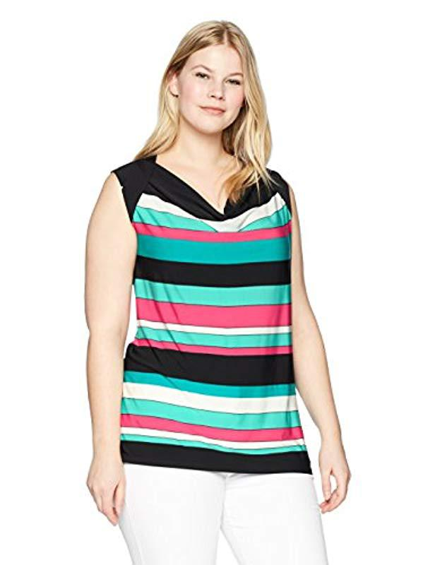 aed3b8deb2a Lyst - Nine West Plus Draped Cowl Neck Stripe Ity Top