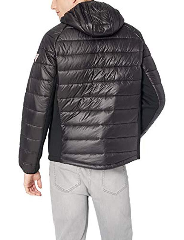 Guess mens Wind /& Water Resistant Hooded Puffer Jacket With Side Stretch Panels