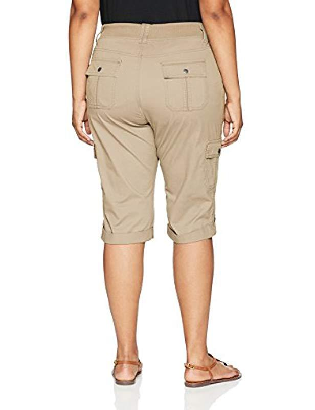e2495560 Lyst - Lee Jeans Plus-size Relaxed Fit Skye Knit Waist Cargo Capri Pant in  Natural