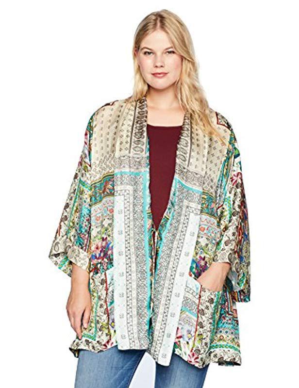 cda717f4da5 Lyst - Johnny Was Plus Size Printed Silk Kimono With Tie