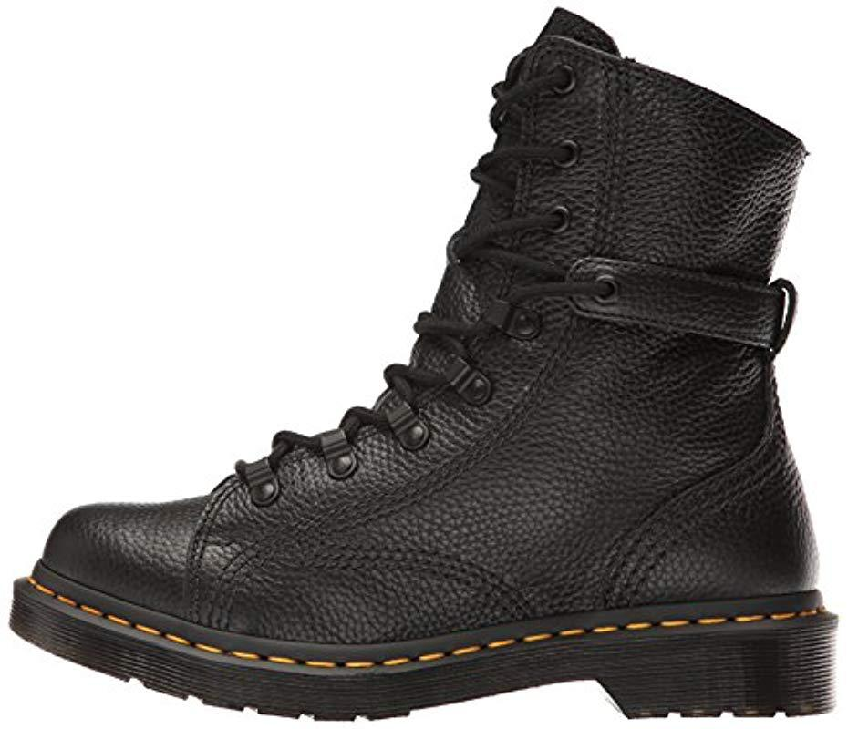 Aunt Sally Leather Combat Boot in Black