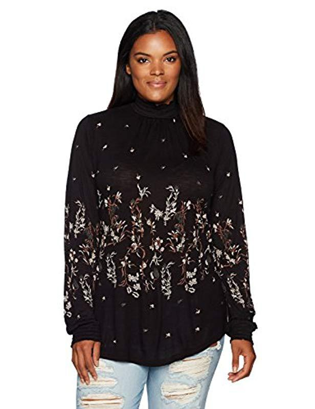 a387d88021c Lyst - Lucky Brand Plus Size Mock Neck Floral Top in Black - Save ...