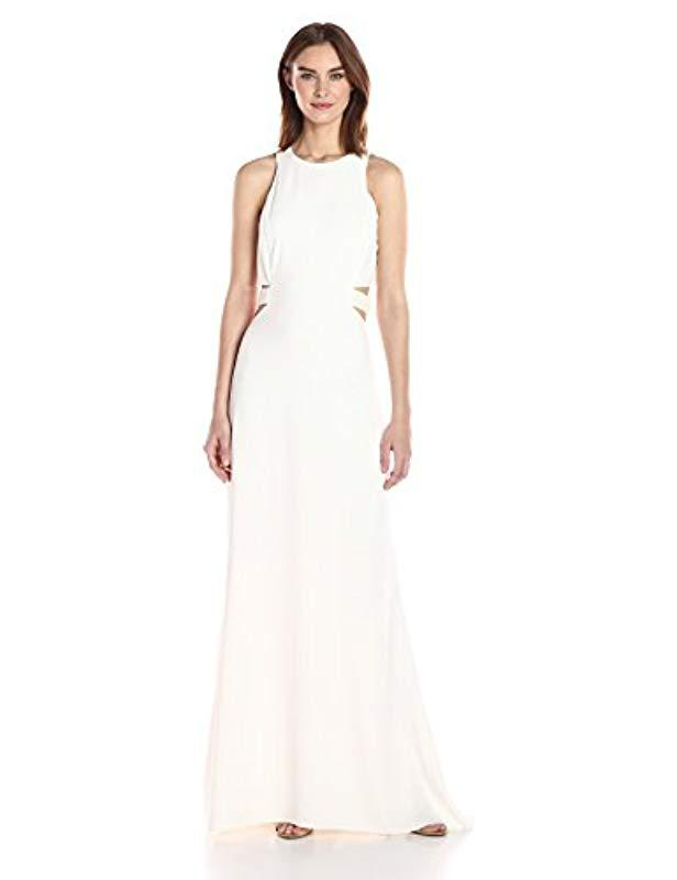 5a3015aa8dab Halston. Women's White Sleeveless Round Neck Gown With Flowy Back & Cut Out