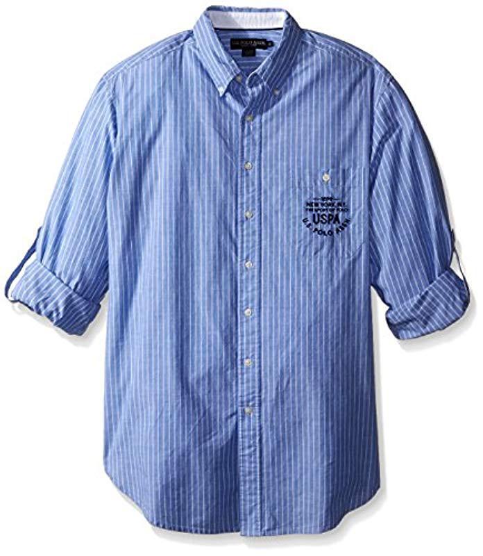 fd10b831 U.S. POLO ASSN. Men's Blue Big And Tall Button Down Slim Fit Striped Oxford  Shirt
