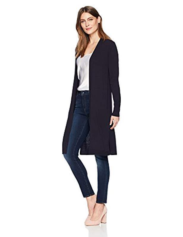 Lyst - Lark   Ro Lightweight Long Sleeve Long Cardigan Sweater in Blue 2ba36203d