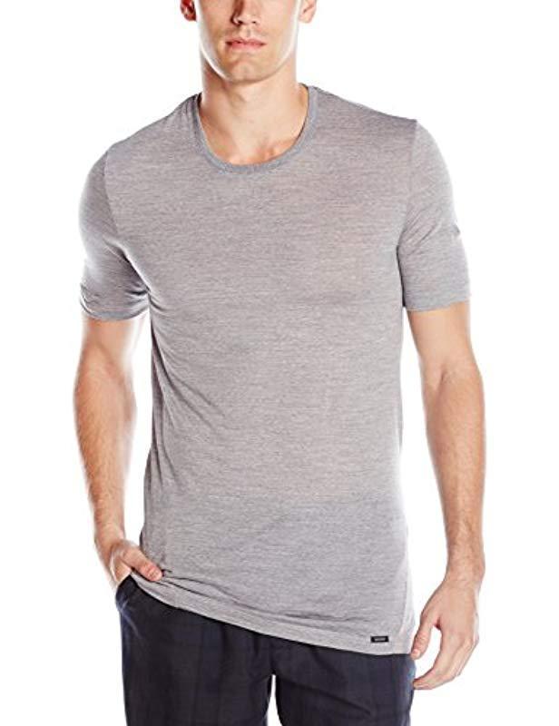 5e159263621e Lyst - Hanro Light Merino Short Sleeve Shirt 74066 in Metallic for Men