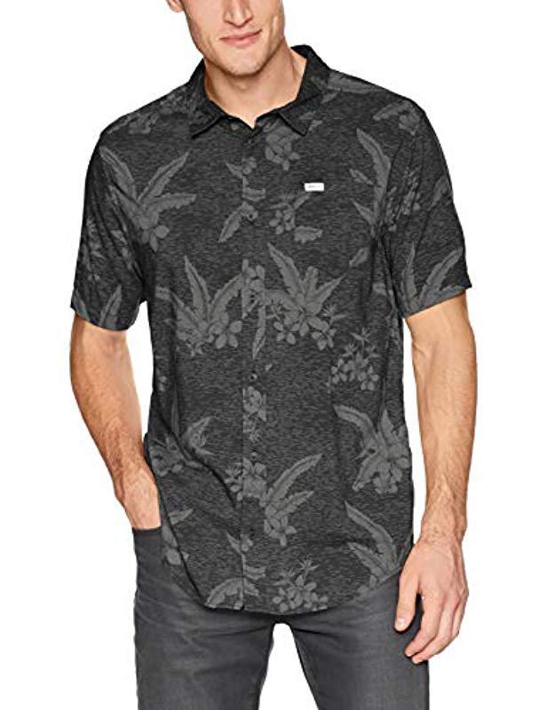 a378d8f1c Lyst - Rvca Ar Hawaiian Short Sleeve Woven Button Up Shirt in Black ...