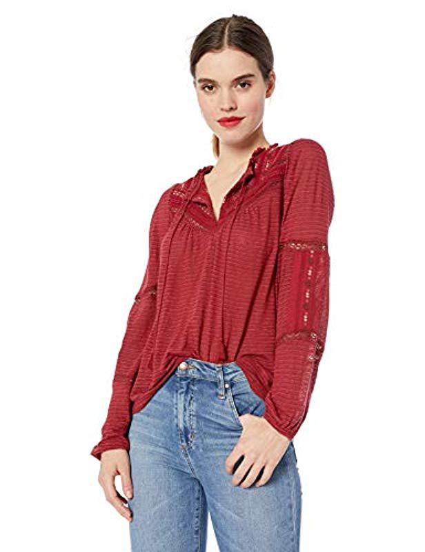 7596fddf05f07 Lyst - Lucky Brand Embroidered Peasant Top in Red