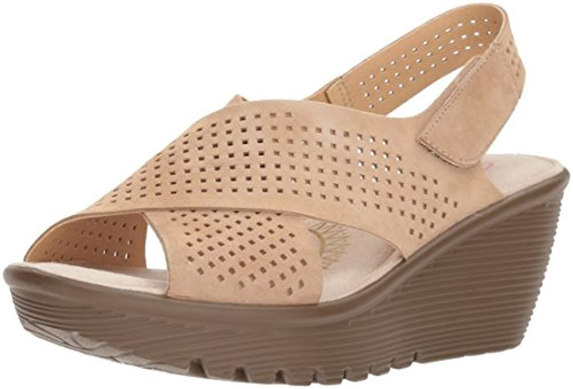 6ab6446821e5 Lyst - Skechers Parallel Infrastructure Wedge Sandal in Natural ...