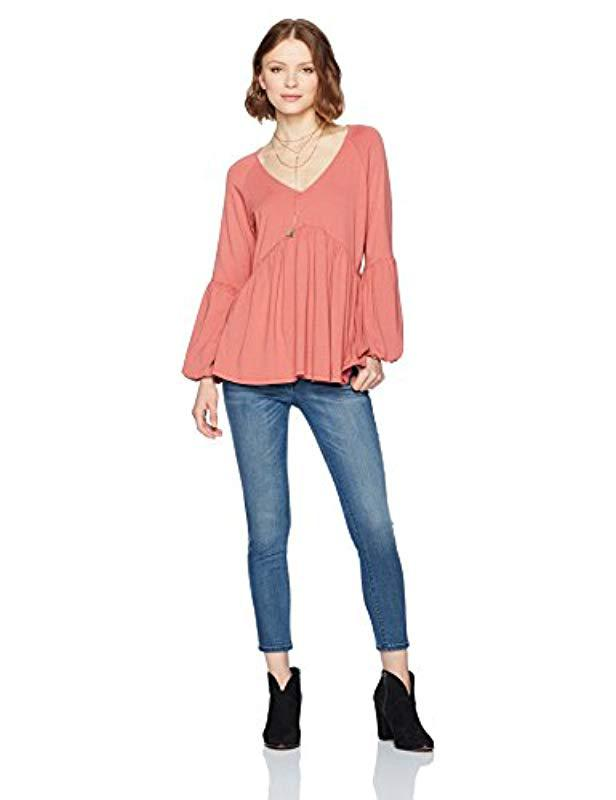 3b5f48497f6f Lyst - Ella Moon Jade Knit Long Bell Sleeve V-neck Shirred Empire Waist Top  in Pink - Save 50%