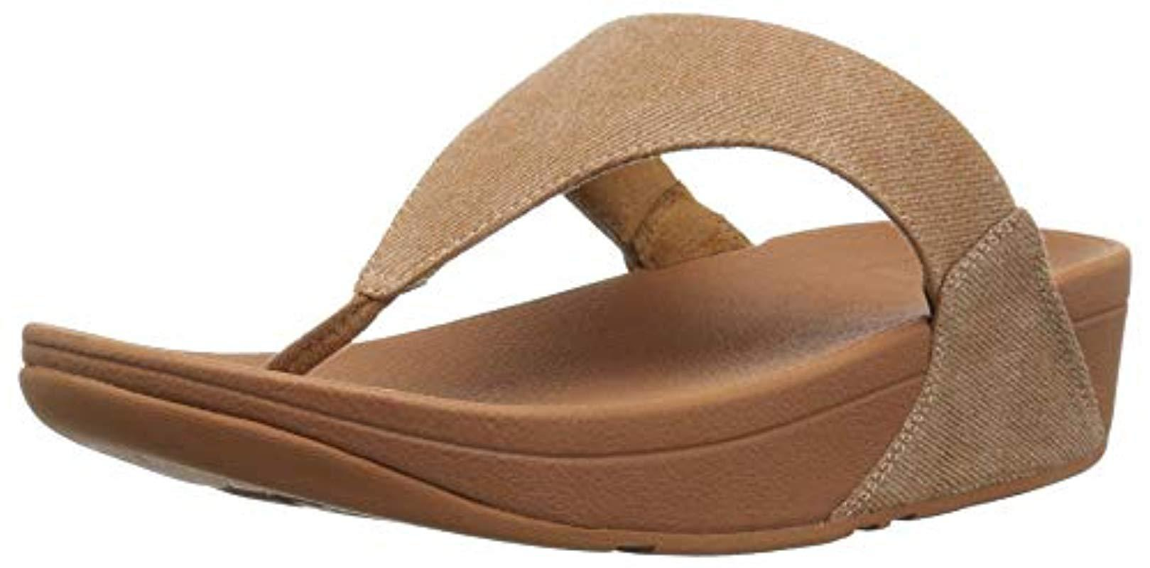 4d7eb6e6431 Lyst - Fitflop Lulu Toe-thong Sandals-shimmer-denim Flip-flop in Natural