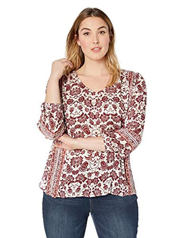 9a0872a4c1145 Lyst - Lucky Brand Plus-size Border Print Peasant Top