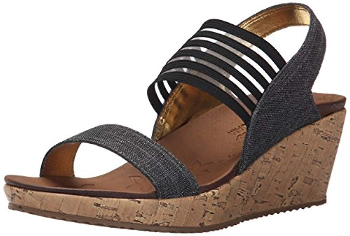 fc340eb9c1e3 Lyst - Skechers Cali Beverlee Smitten Kitten Wedge Sandal in Black ...