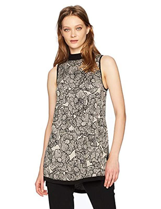 9ed48103ffc70 Lyst - Anne Klein Floral Jacquard High Low Sweater in Black