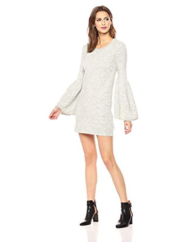 Lyst - Kensie Warm Touch Sweater Dress With Bell Sleeve in Gray 02ed5892c257