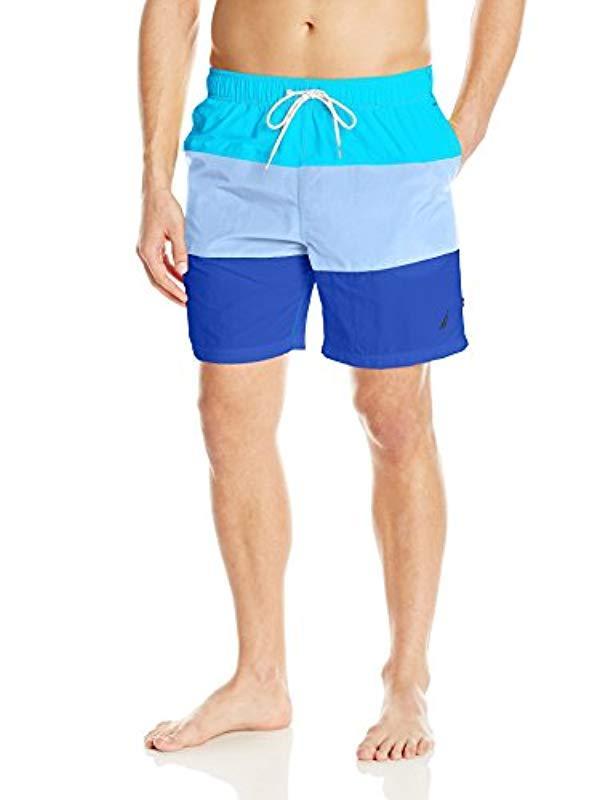 d5a89d3bdc Nautica. Men's Standard Quick Dry Color Block Swim Trunk, Calypso Blue ...