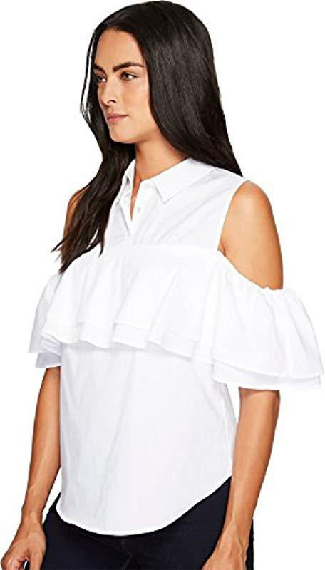 c080df55bb51a Trina Turk. Women s White Basinger Polished Shirting Cold Shoulder Top