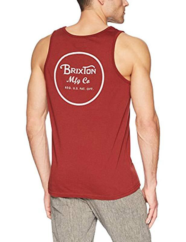 Lyst - Brixton Wheeler Tailored Fit Tank Top in Red for Men - Save 14% 1b4fb4cb98a