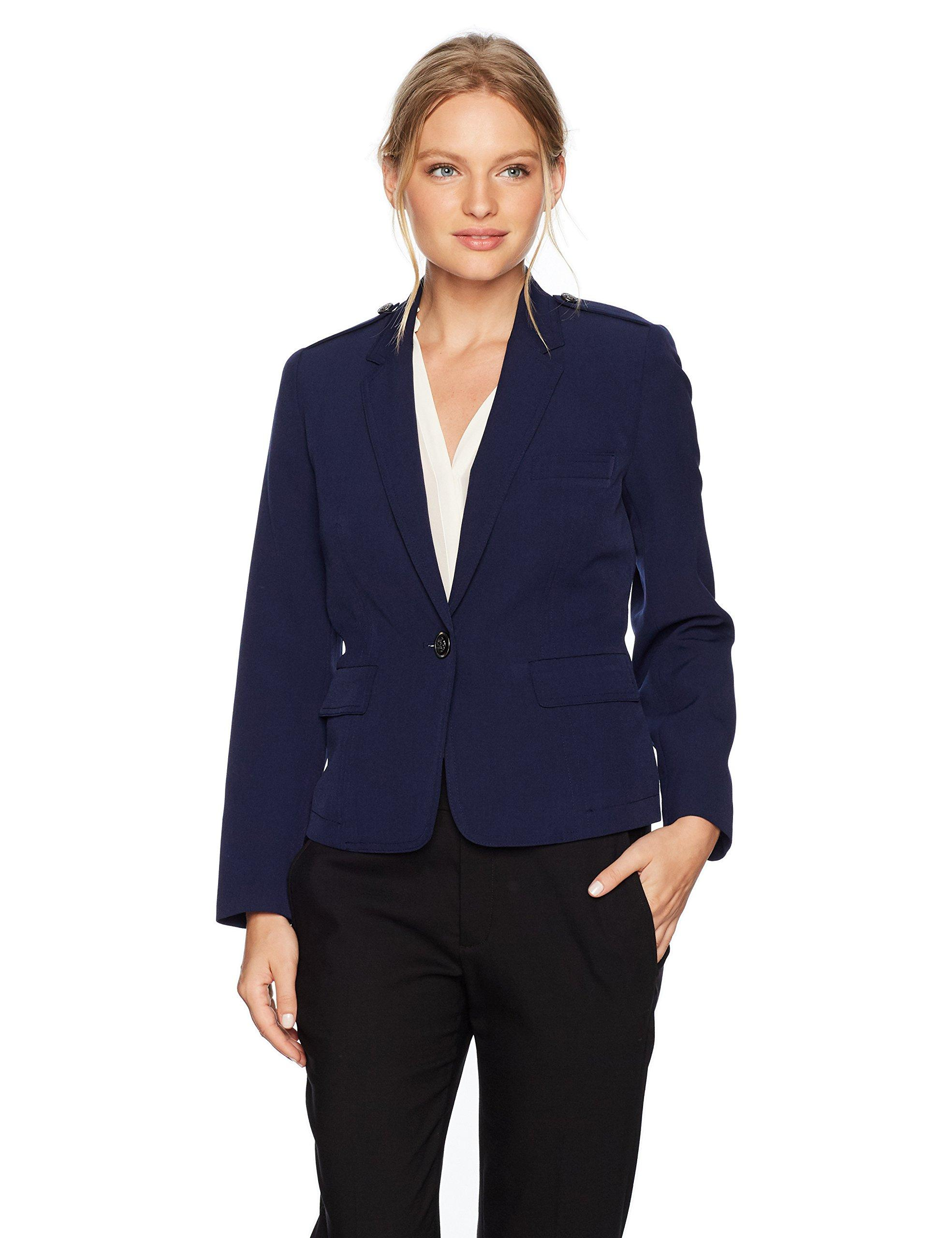Kasper Womens 1 Button Stretch Crepe Notch Lapel Jacket