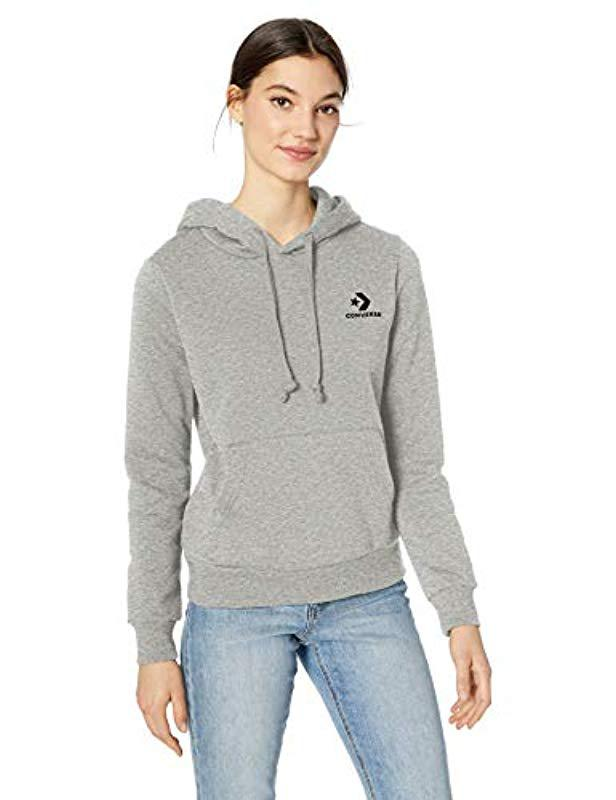 166b29323b97 Lyst - Converse Star Chevron Embroidered Pullover Hoodie in Gray
