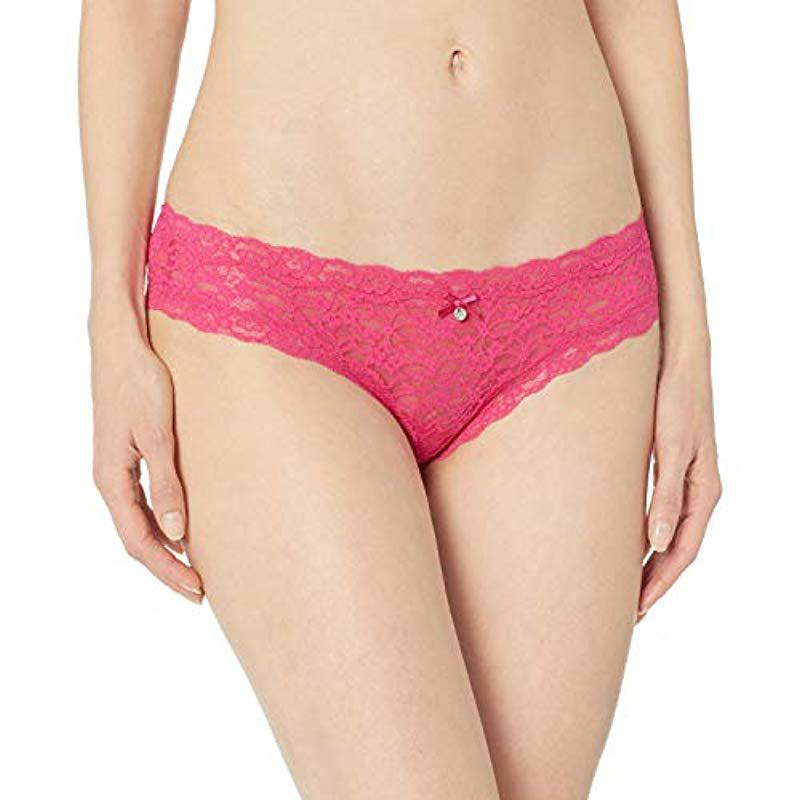 b0f3554702dc Lyst - Guess Classis Cheeky Lace Brazilian in Pink - Save 29%