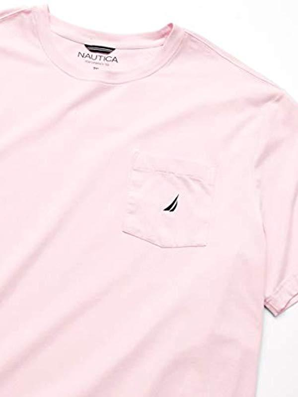 8ecf44cf Lyst - Nautica Big And Tall Solid Crew Neck Short Sleeve Pocket T-shirt in  Pink for Men