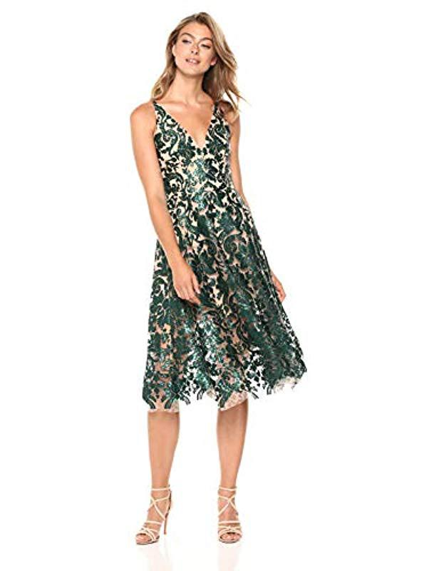 4cabdc8377de2 Dress the Population. Women s Green Blair Plunging Fit And Flare Midi Dress