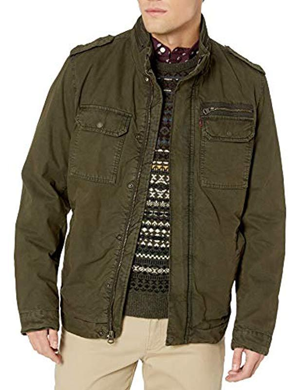 Levi's Washed Cotton Two Pocket Sherpa Lined Military ...