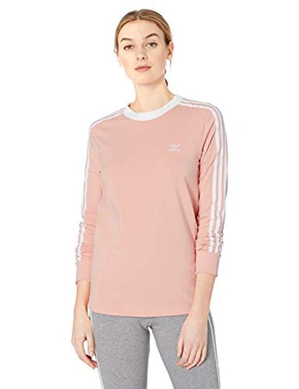new arrival 4e6c8 27336 adidas Originals. Women s Pink 3-stripes Long Sleeve Tee