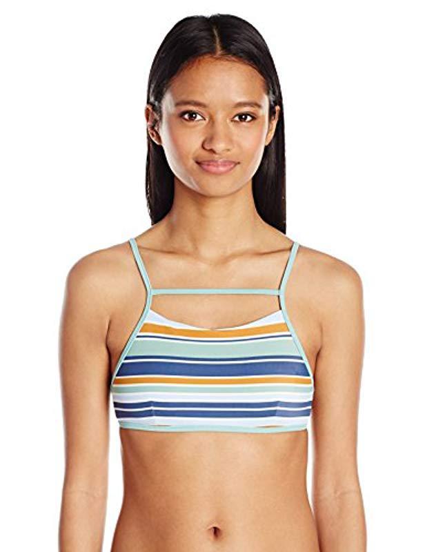 cc73ca5c19cf9 Lyst - Rvca Stripe Type Bralette Bikini Top in Blue - Save ...