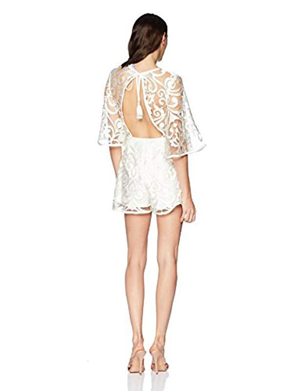 2b6dc085523 Lyst - Finders Keepers Alchemy Lace Long Sleeve Playsuit in White