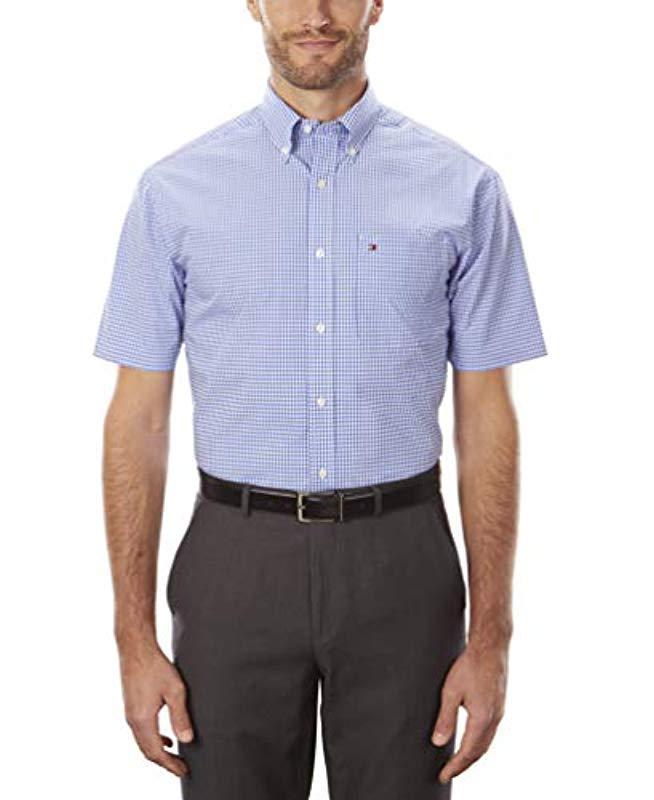 b77ba611 Lyst - Tommy Hilfiger Short Sleeve Button-down Shirt in Blue for Men