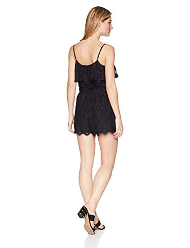 c823188ed914 Lyst - Guess Sleeveless Francine Lace Romper in Black - Save 50.0%