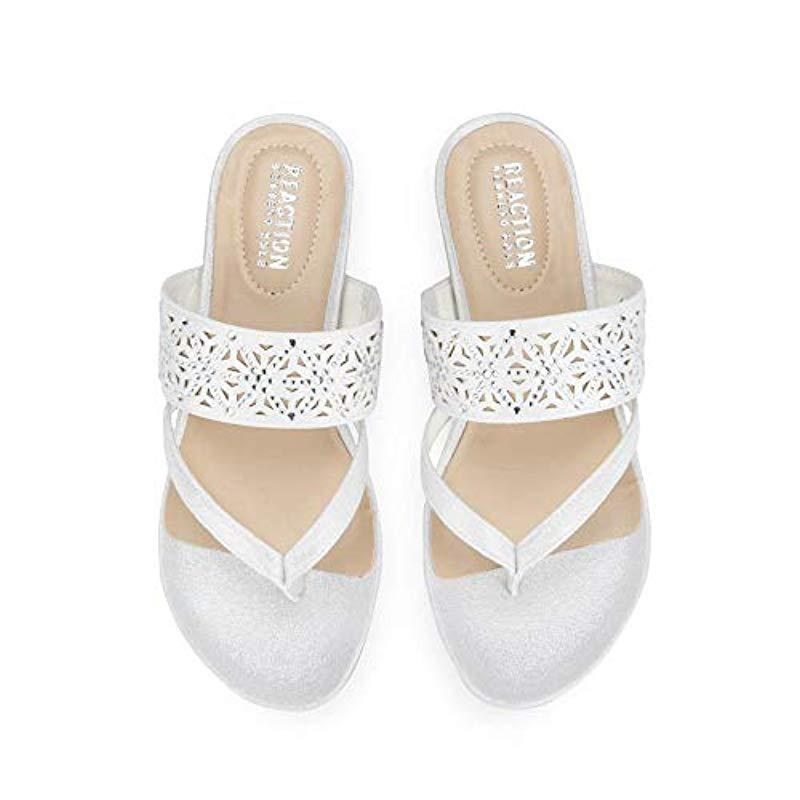 9692dc3dc9 Kenneth Cole Reaction - White Chime Low Wedge Thong Sandal - Lyst. View  fullscreen