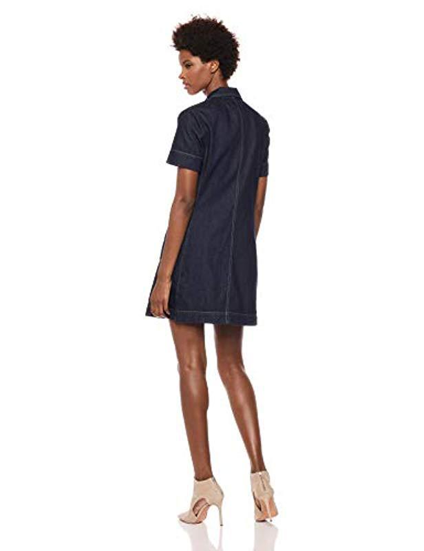 4c21f53bbe2 Lyst - Calvin Klein Short Sleeve Denim Dress in Blue