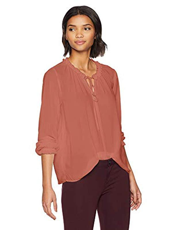 9aa76a6bb2d542 Lyst - Velvet By Graham   Spencer Samantha Rayon Challis Blouse in Red
