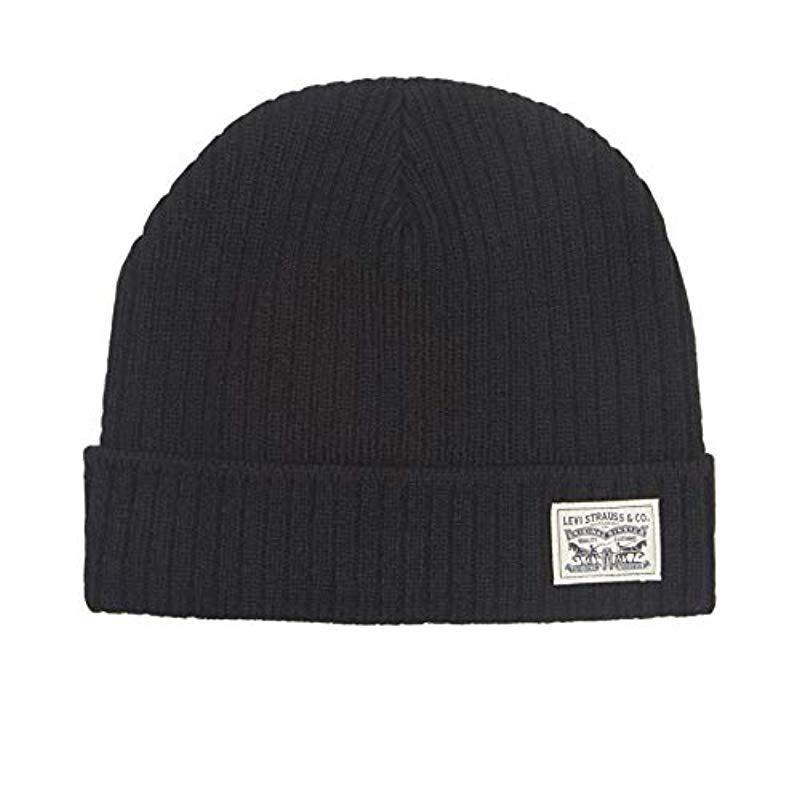 9585ca884d7fc4 Lyst - Levi's Warm Winter Knit Skullie Beanie in Black for Men