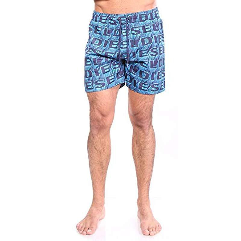 28fa895dab Lyst - Diesel Wave Printed 16 Inch Swim Trunk in Blue for Men - Save ...