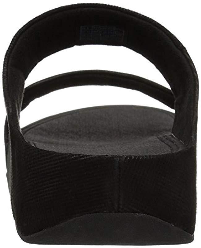 8dd3dd115 Lyst - Fitflop Lulu Slide Sandals - Shimmer-check in Black - Save 45%